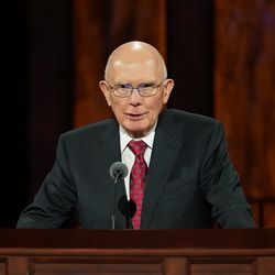 President Dallin H. Oaks, first counselor in the First Presidency, speaks during the women's session of the 190th Semiannual General Conference of The Church of Jesus Christ of Latter-day Saints on Saturday, Oct. 3, 2020.