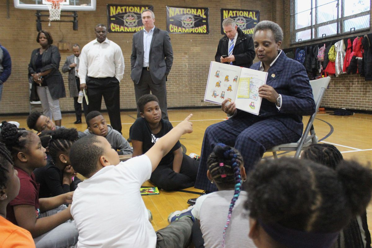 Mayor Lori Lightfoot read a book about a girl who wants to become a teacher to children on the 10th day of Chicago's teacher strike.