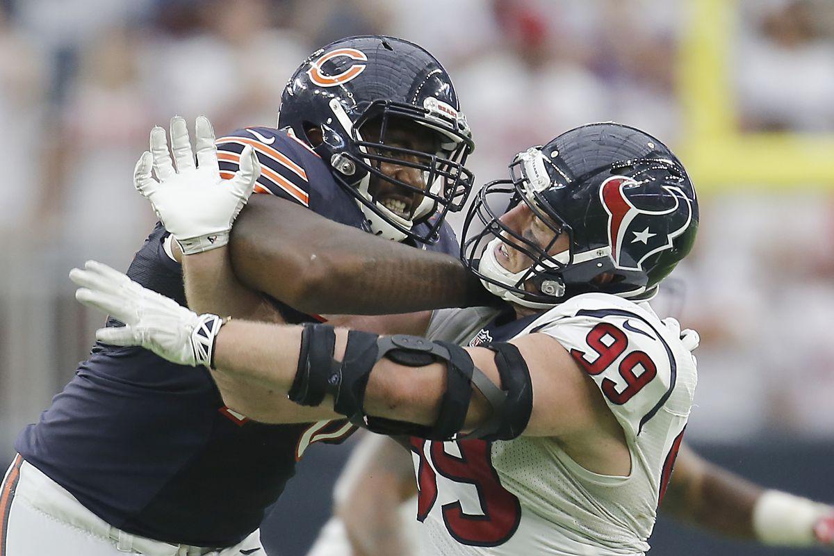 J.J. Watt #99 of the Houston Texans bull rushes against Bobby Massie #70 of the Chicago Bears in the second half at NRG Stadium on September 11, 2016 in Houston