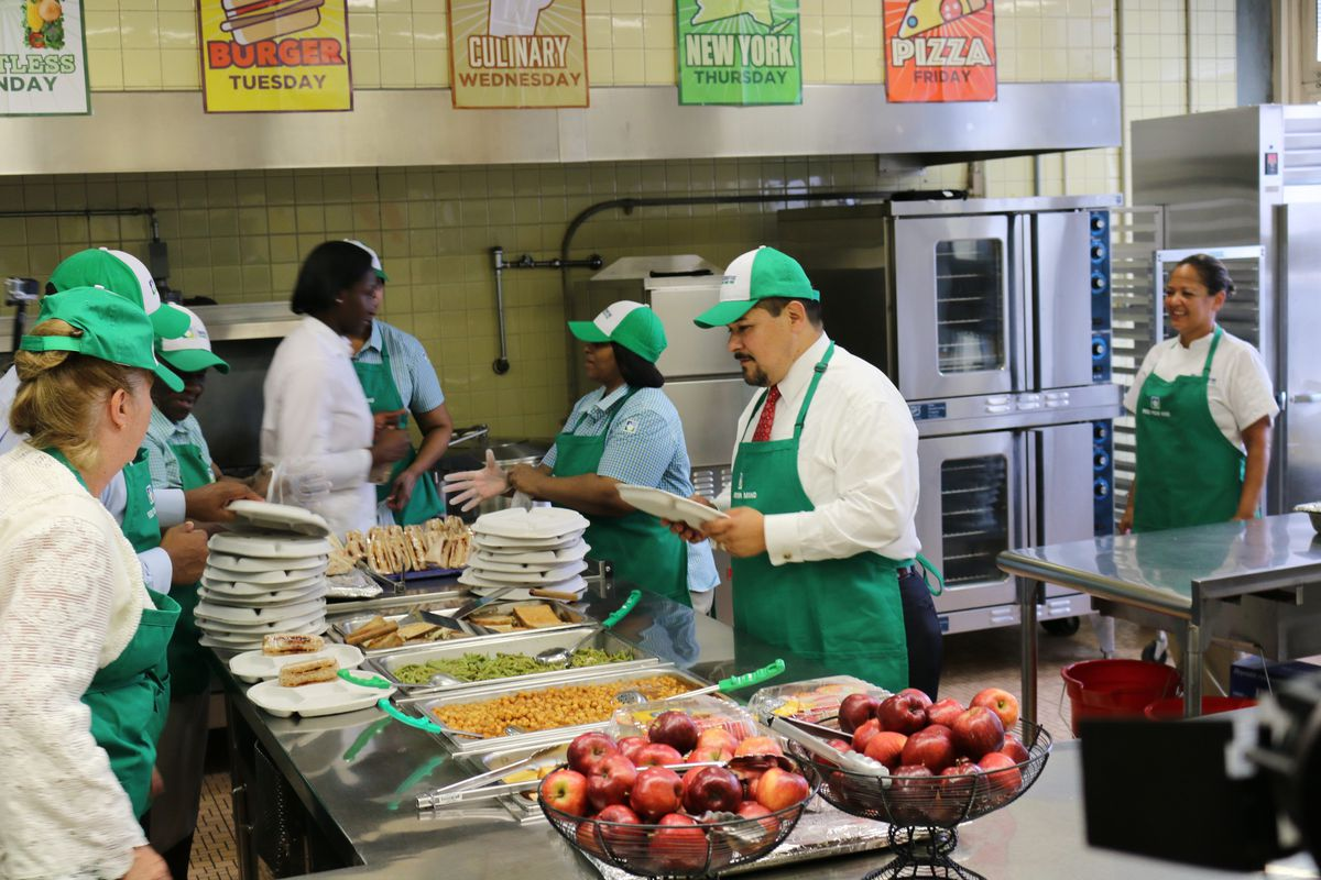 Schools Chancellor Richard Carranza and Manhattan Borough President Gale Brewer served lunch at P.S./I.S. 180 in Harlem on the first day of the 2018-2019 school year. Mayor Bill de Blasio has warned that federal funding for school food could end in April if the government shutdown drags on.