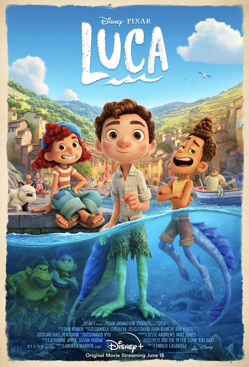 the poster for luca, revealing a boy standing at the center. his feet are in water and they are scaly and sea monster-like, next to him is a smiling boy with the same sea monster bottom, and a girl on land