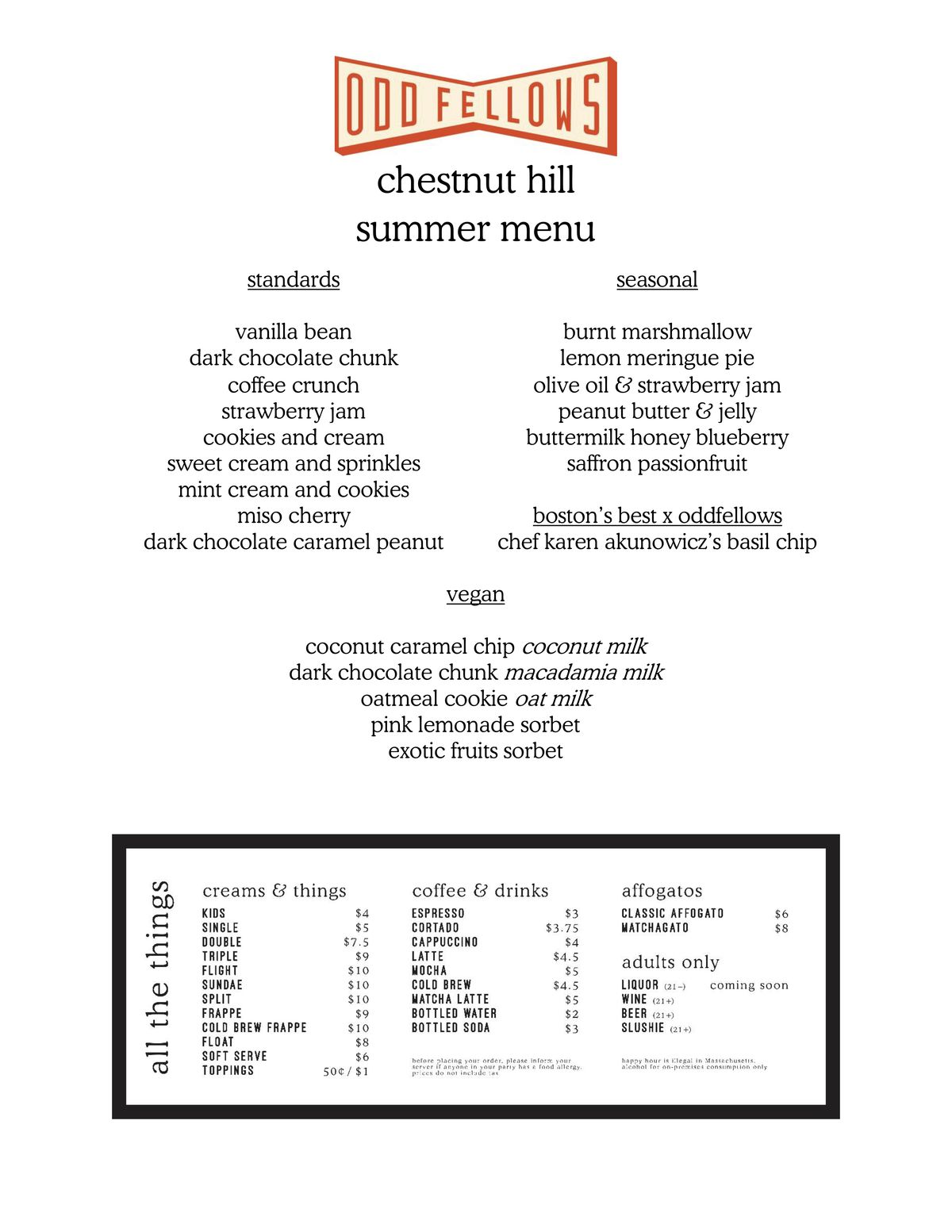 The opening menu for Oddfellows Ice Cream in Chestnut Hill