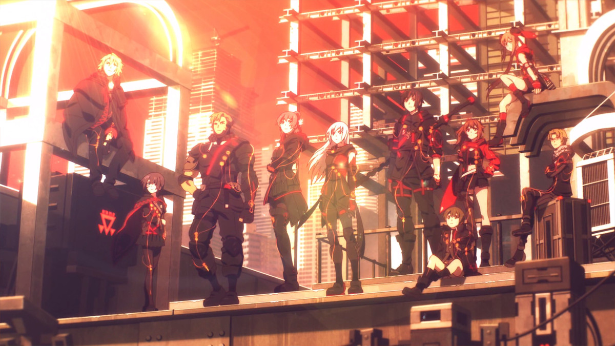 A bunch of characters in Scarlet Nexus stand on a building
