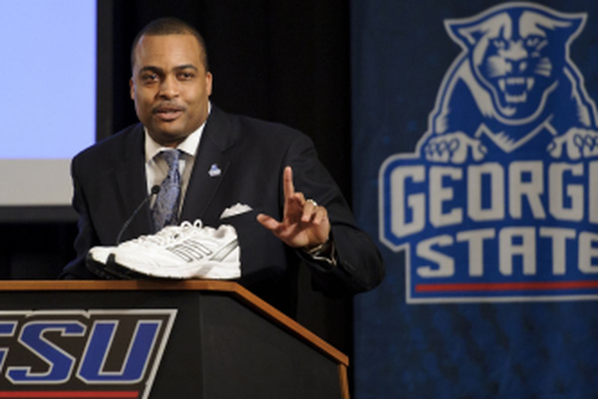 Georgia State Men's Basketball coach Ron Hunter at his introductory press conference on March 21, 2011.  (Photo Courtesy of Paul Abell/Abell Images).