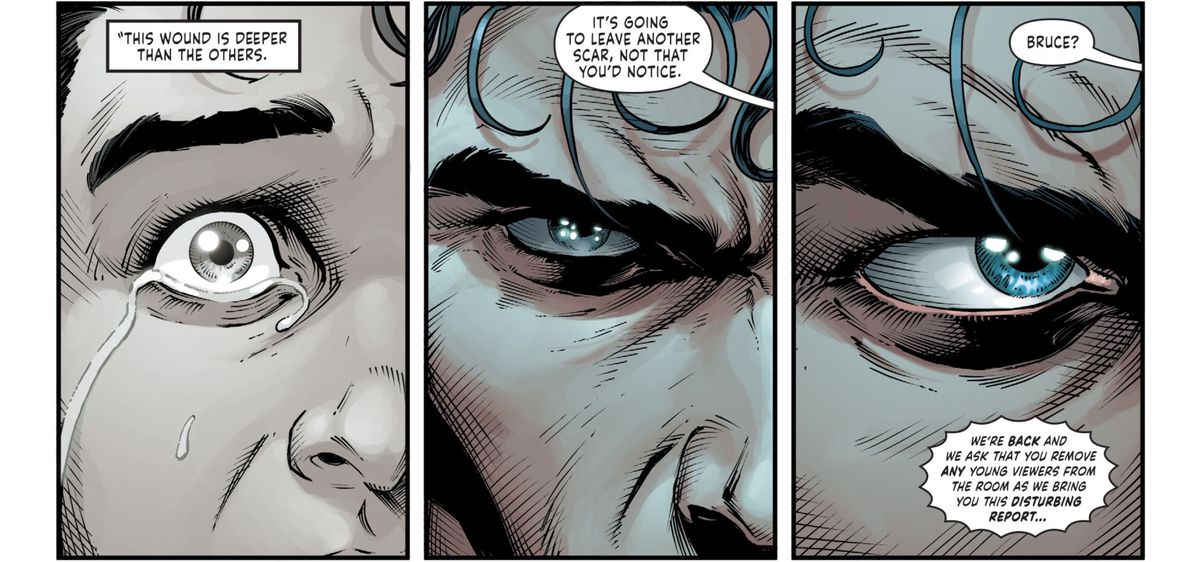 """""""This wound is deeper than the others,"""" says Alfred's narration over a young Bruce's weeping face. """"It's going to leave another scar, not that you'd  notice,"""" he continues, as an older Bruce stares angrily ahead, in Three Jokers #1, DC Comics (2020)."""