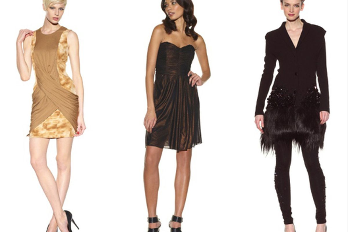 From left: Doo.Ri dress for $530, Badgley Mischka dress for $134, and Doo.Ri goathair/sequin encrusted coat for $1,278. Images my MyHabit