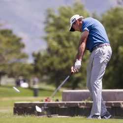 Chris Moody tees of on the third day of the 78th Provo Open at East Bay Golf Course in Provo Saturday, June 10, 2017.