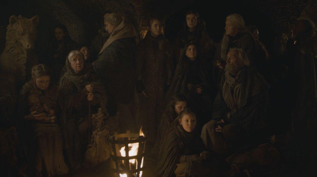 Les gens se cachent dans la crypte de Winterfell