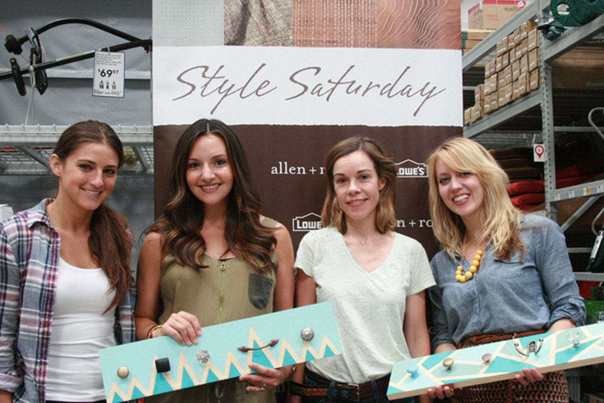 """Brit Morin, pictured second from the left, and fellow crafters at Lowe's Style Saturday; photo via <a href=""""http://lowes.com/"""">Lowe's</a>"""