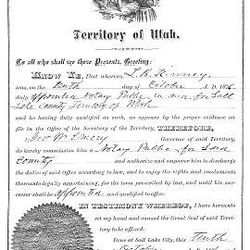 Early territorial appointment of L. B. Kinney was signed by Territorial Governor George Emery in 1876.