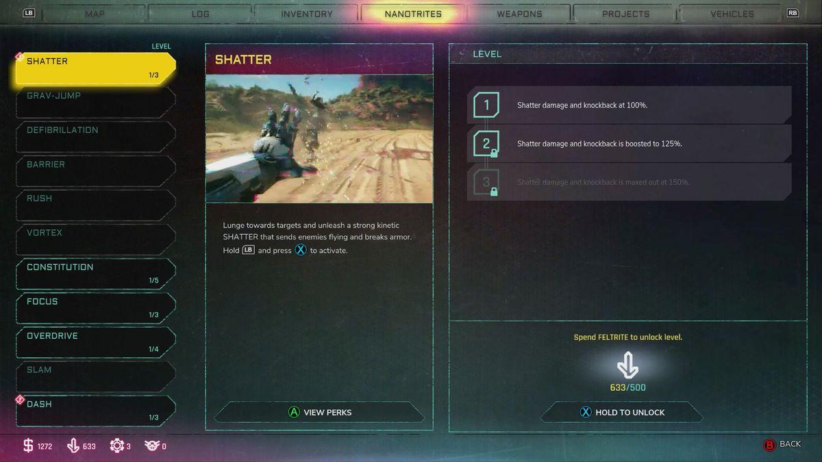 Rage 2 Nanotrite upgrade menu