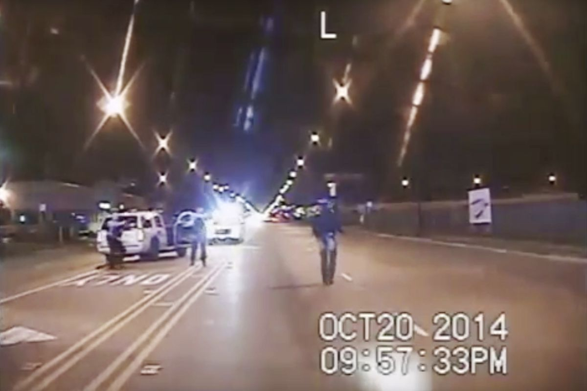 Police dashcam footage that captured the fatal shooting of Laquan McDonald on Oct. 20, 2014.