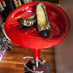 """Rachel's Chanel Flats. """"I kind of have a little soft spot for these. These little bad boys, because I am a high heels person, I wear like eight-inch inch heels. I always joke that my husband's going to see this tiny casket when I die and he'll be like """"wh"""