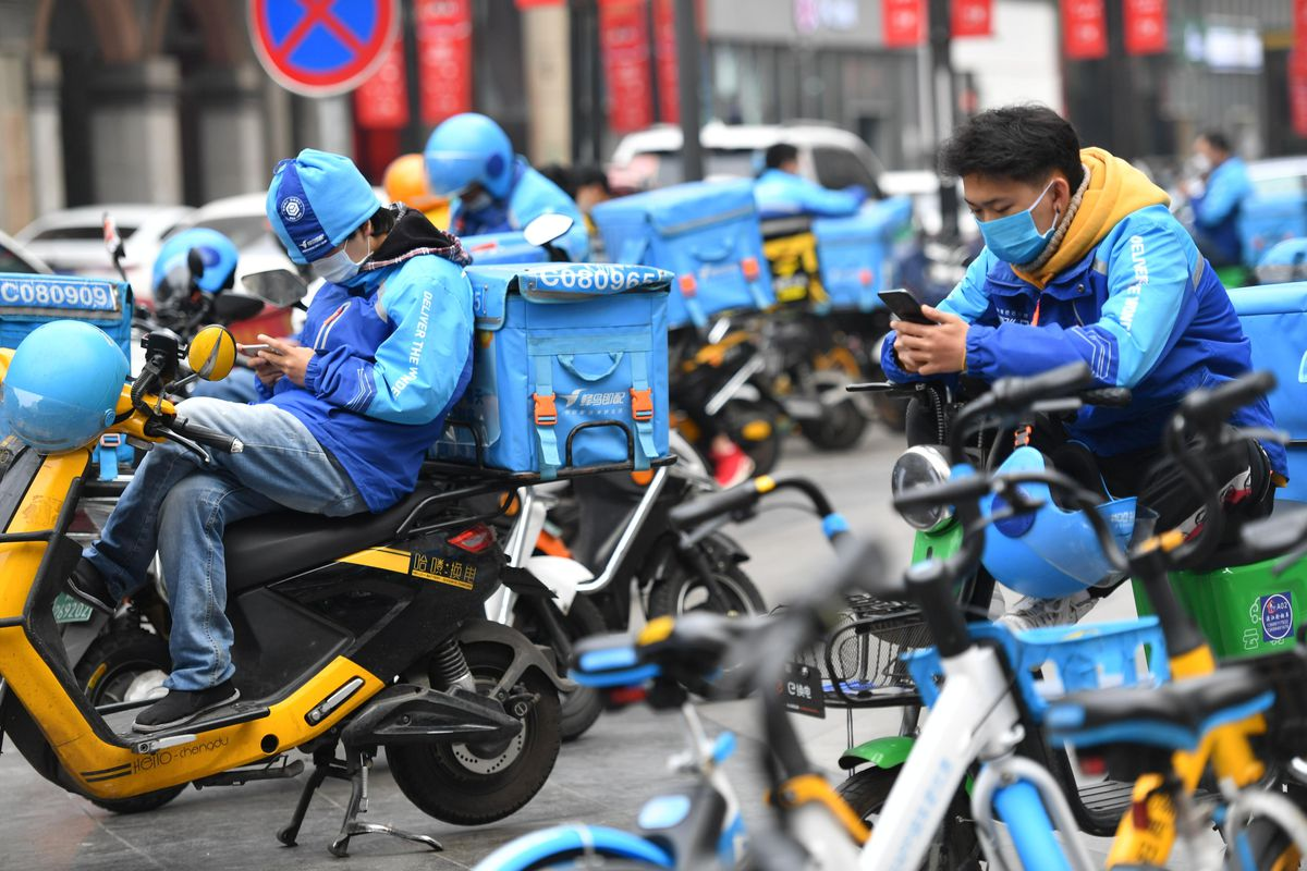 Couriers for Fengniao Delivery in Chengdu, China.