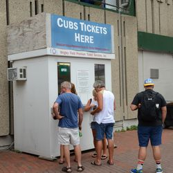 11:09 a.m. Wrigley Field Premium Ticket booth, open for business on Addison -