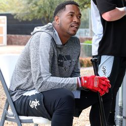 Eloy Jimenez listens to teammates while waiting his turn in the batting tunnel at Camelback Ranch, the spring Training home of the Chicago White Sox, in Glendale, AZ. | John Antonoff/For the Sun-Times