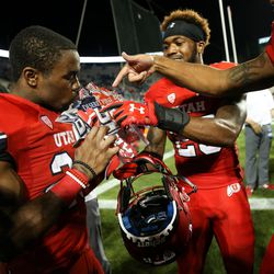 Utah Utes defensive back Javelin Guidry (28) celebrates his team's win over the Brigham Young Cougars at LaVell Edwards Stadium in Provo on Saturday, Sept. 9, 2017.