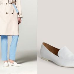 """Pointy white loafers. Right: Leather loafers, <a href=""""http://www.saksfifthavenue.com/main/ProductDetail.jsp?PRODUCT%3C%3Eprd_id=845524446554054&FOLDER%3C%3Efolder_id=282574492823381&bmUID=k1TW.Qi&RVL=true"""">$375</a> at Saks Fifth Avenue"""