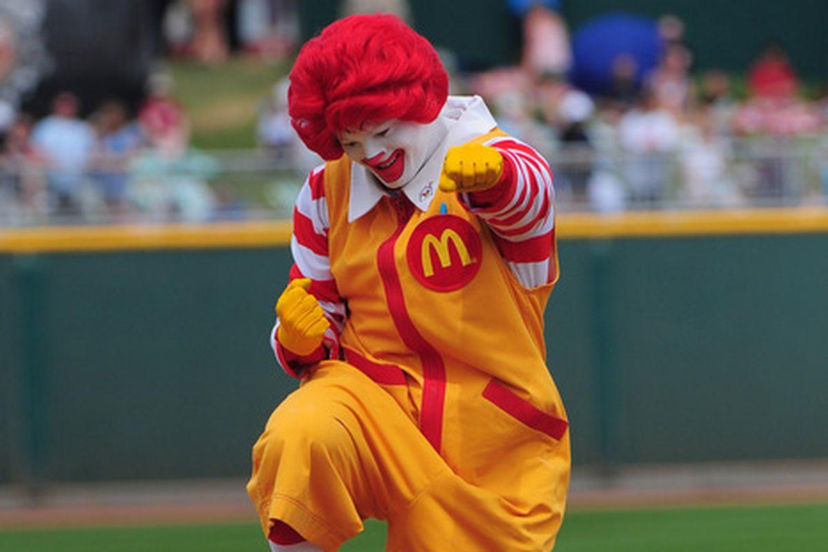 Ronald McDonald is pumped!