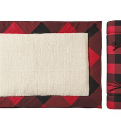 Travel Pet Bed in Red/Black Plaid, $35