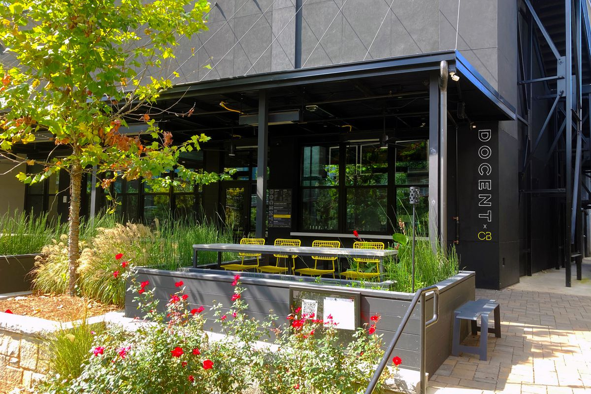 Docent Coffee roastery opens as a walk-up coffee shop on the corner of the ground floor covered patio at Cold Beer, owned by chef Kevin Gillespie, on the Eastside Beltline in Atlanta.
