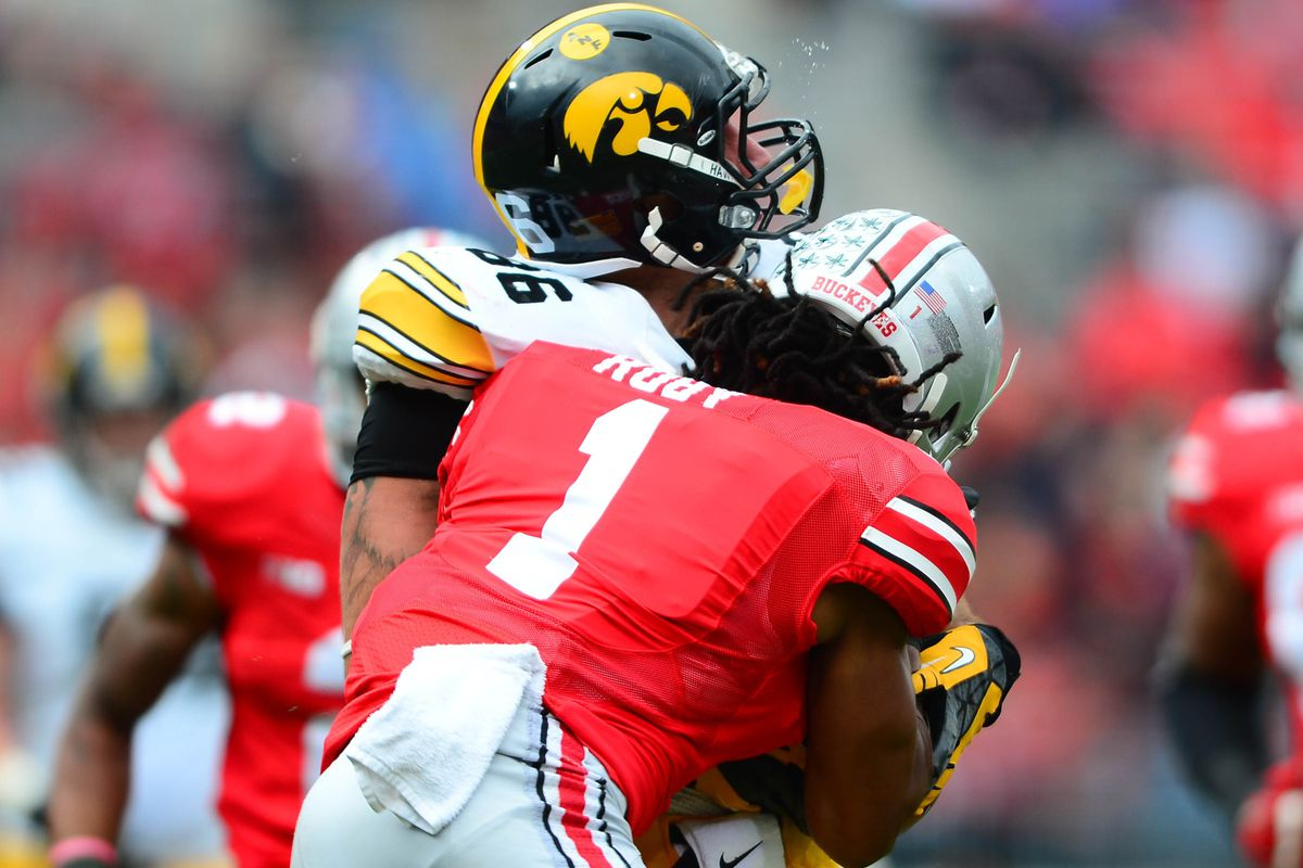Ohio State Iowa Bradley Roby ejected for tar ing Land Grant
