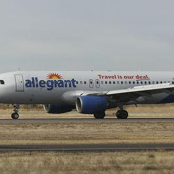 An Allegiant Air airplane taxis at the Provo Municipal Airport in Provo on Wednesday, Nov. 6, 2019.