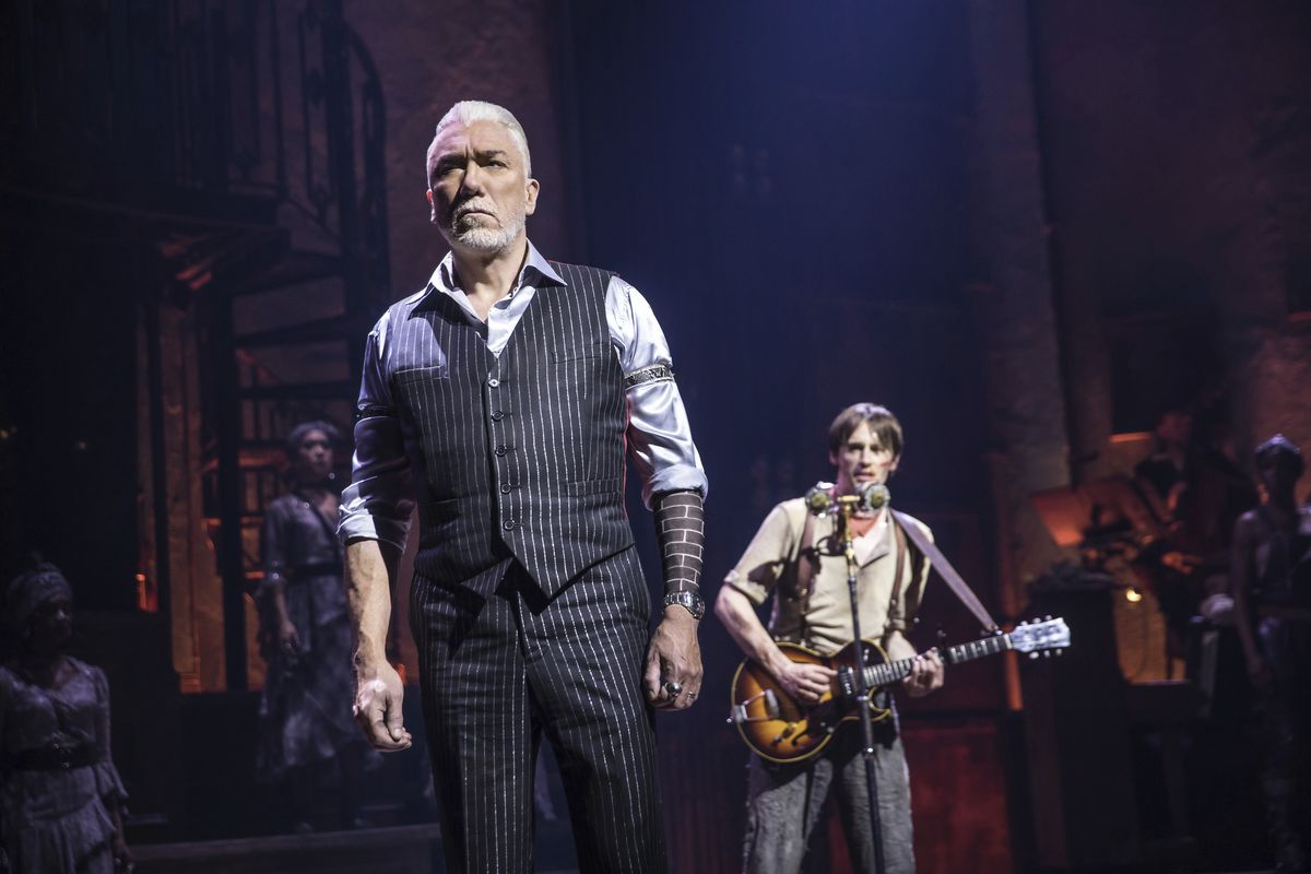 """Patrick Page (left) and Reeve Carney star in the Tony Award-nominated musical """"Hadestown,"""" directed by Rachel Chavkin."""