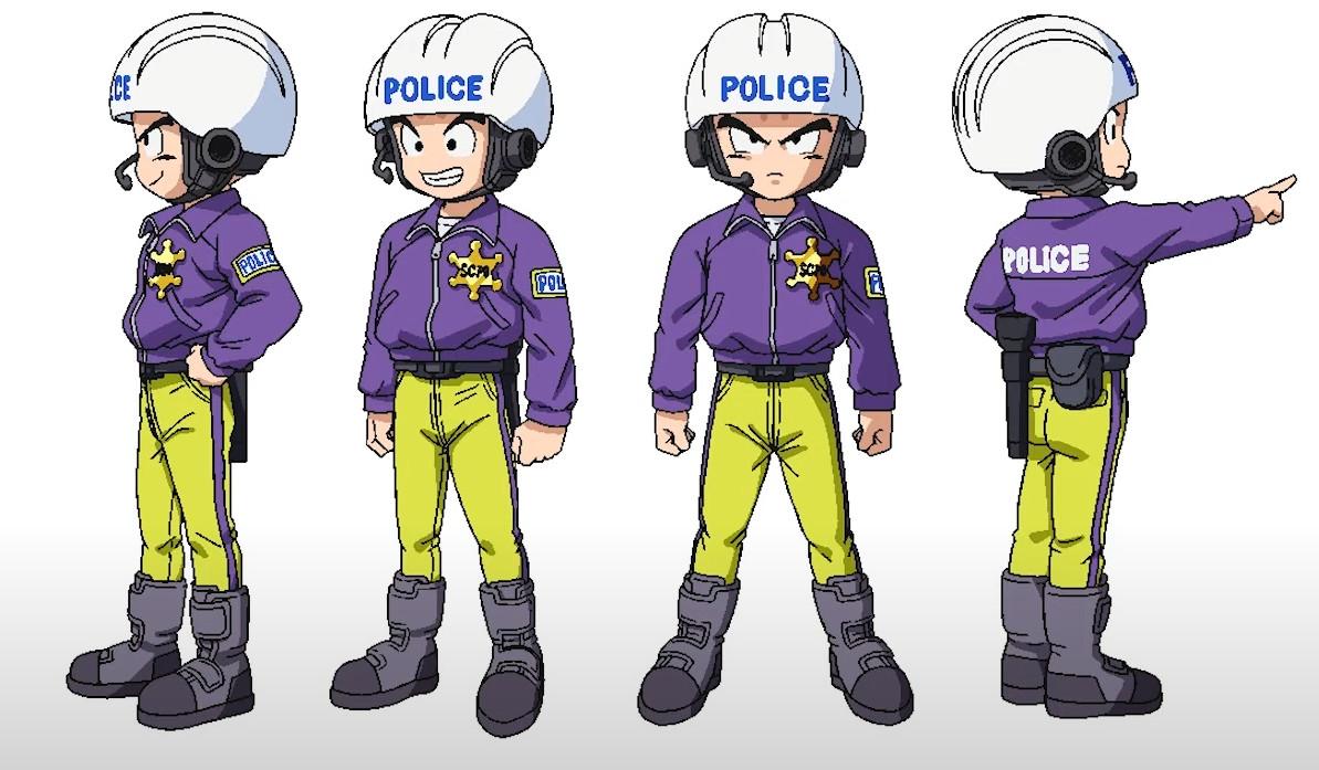 Krillin in his police uniform from Dragon Ball Super: Superhero