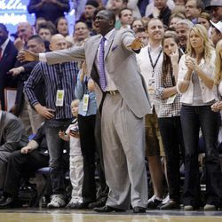 Utah Jazz head coach Tyrone Corbin calls out to his players as the Utah Jazz and the Orlando Magic play Saturday, April 21, 2012 in Energy Solutions arena.