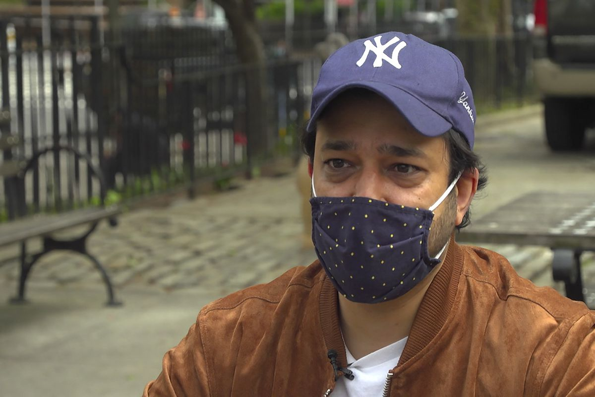 Ankur Chandra, 38, talks about his father's experience with COVID-19, during an interview Tuesday, April 27, 2021, in New York. The New York-based consultant's father is now recovering from COVID-19, alone in an apartment in India's national capital region of Gurugram.
