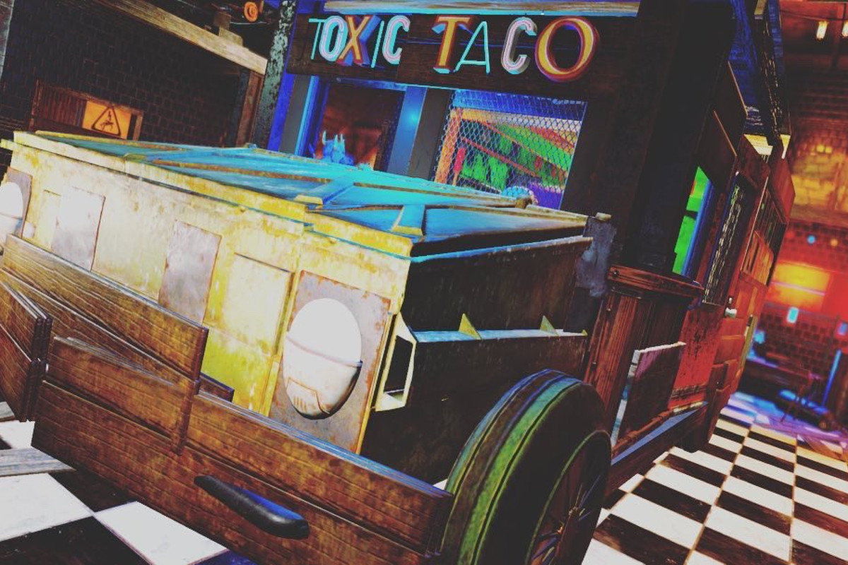 Fallout 76 - a player's CAMP, with a taco truck lit in various shades of neon, called Toxic Taco