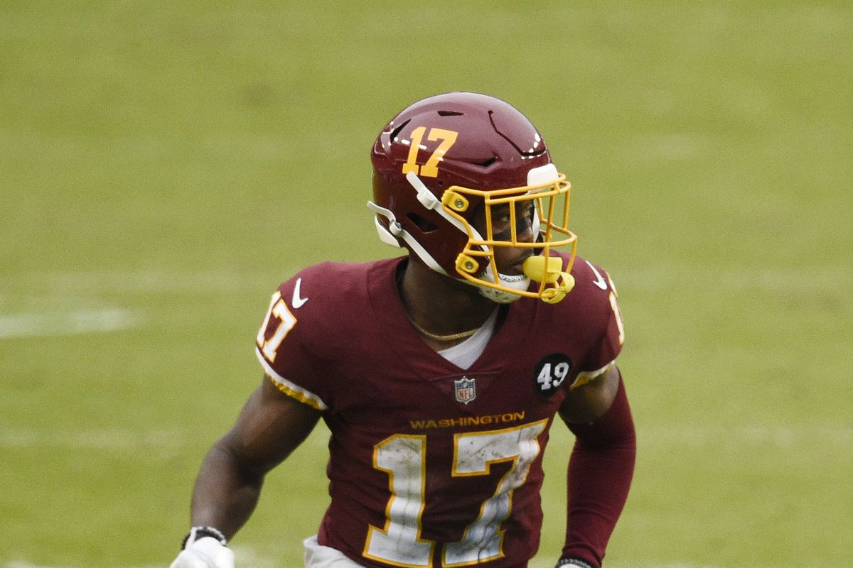 Terry McLaurin #17 of the Washington Football Team in action in the second half against the Dallas Cowboys at FedExField on October 25, 2020 in Landover, Maryland.