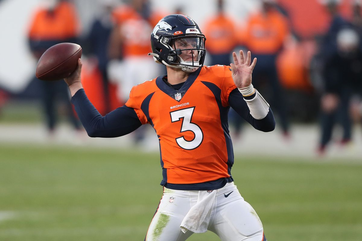 Quarterback Drew Lock #3 of the Denver Broncos looks to throw for a touchdown against the Los Angeles Chargers in the fourth quarter of the game at Empower Field At Mile High on November 01, 2020 in Denver, Colorado.