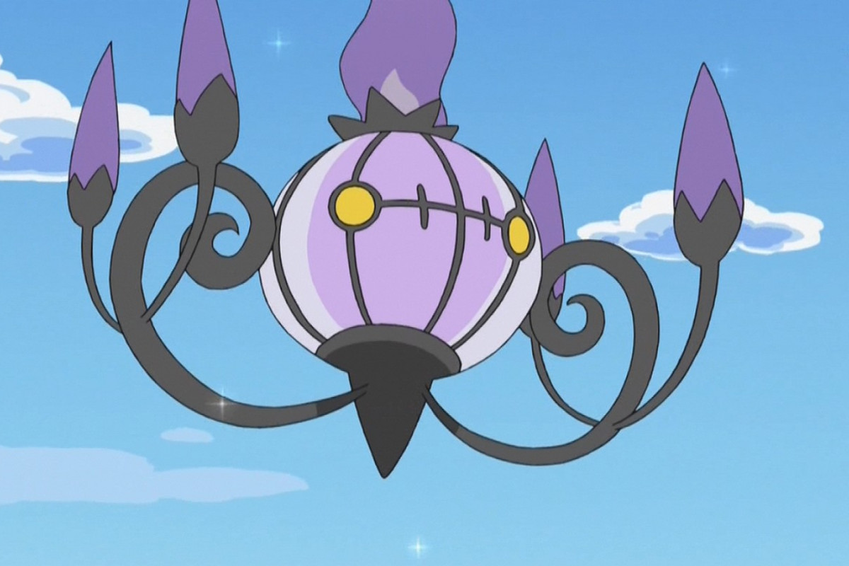 A Chandelure floats in the sky from the Pokémon anime