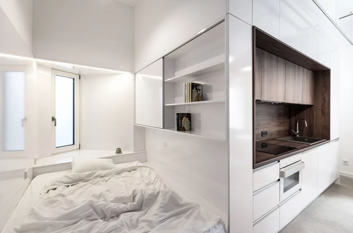 Micro kitchen and bedroom nook