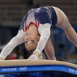 Mykayla Skinner of the United States, performs on the vault during the artistic gymnastics women's apparatus final at the 2020 Summer Olympics, Sunday, Aug. 1, 2021, in Tokyo, Japan.