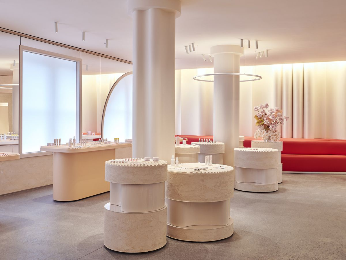 The interior of Glossier's New York flagship store.