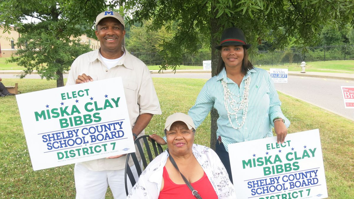 Candidate Miska Clay Bibbs and her family members were at Robert Church Elementary School, a polling station, on Thursday.