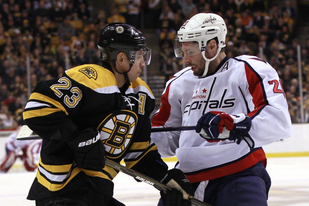 March 29, 2012; Boston, Massachusetts, USA; Boston Bruins center Chris Kelly (23) faces off with Washington Capitals right wing Troy Brouwer (20) during the first period at TD Banknorth Garden.  Mandatory Credit: Greg M. Cooper-US PRESSWIRE