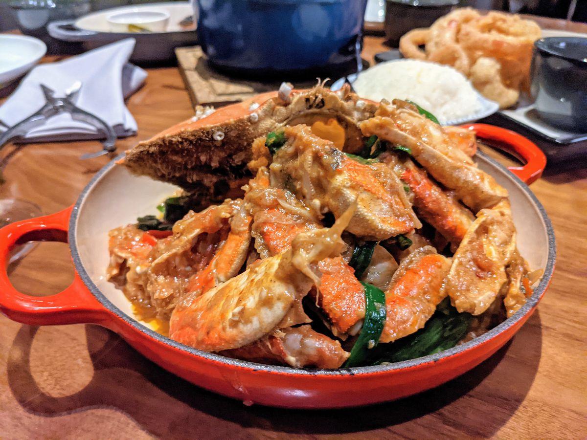 Dungeness Singaporean chile crab at Majordomo Meat & Fish in Las Vegas.
