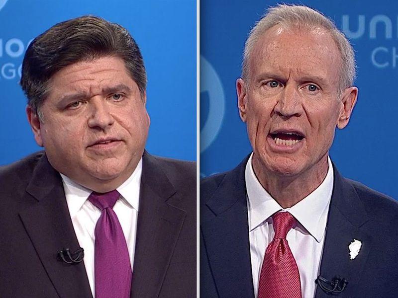 Democrat J.B. Pritzker, left, and Republican Gov. Bruce Rauner, right, square off in a debate in 2018.