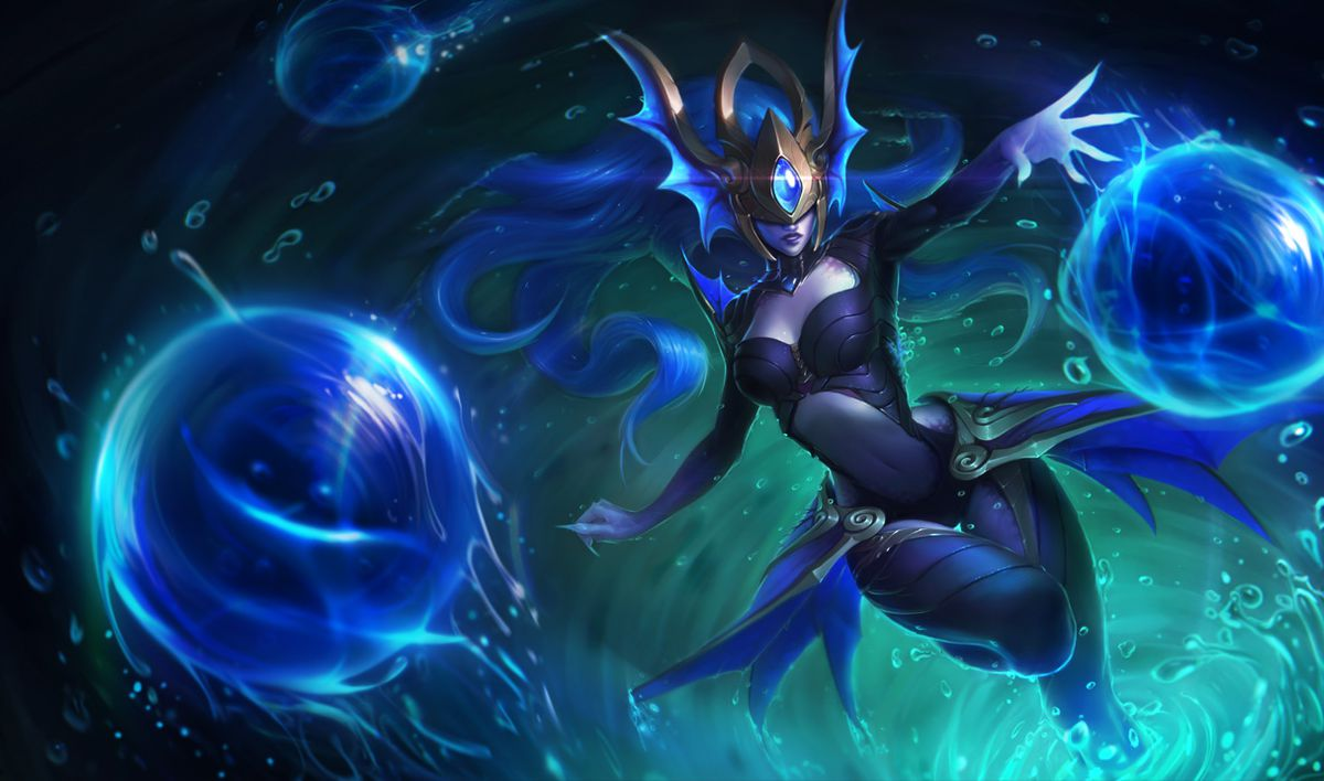 Atlantean Syndra fires off orbs of water while emerging from a whirlpool