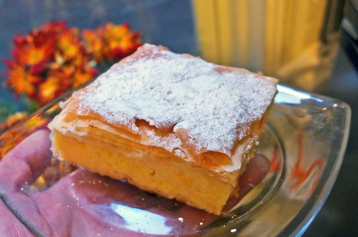 A flaky sheet pastry filled with custard.