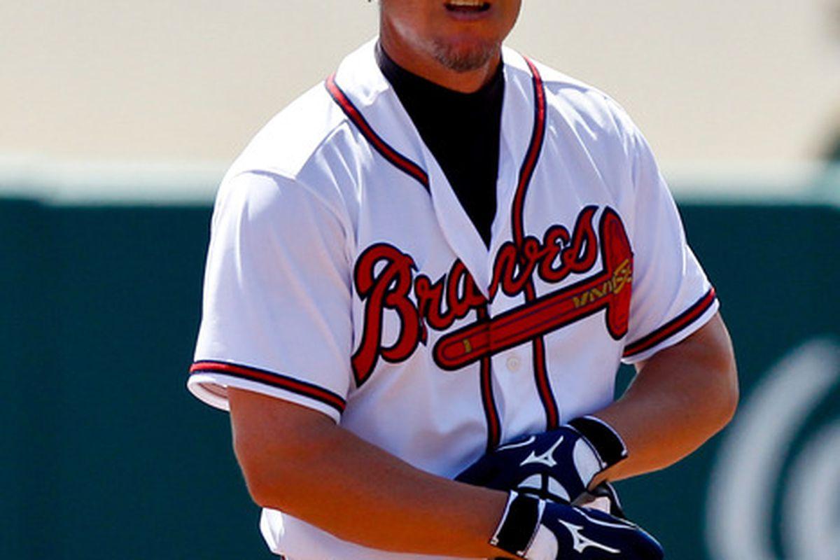 March 18, 2012; Lake Buena Vista, FL, USA; Atlanta Braves third baseman Chipper Jones (10) against the Baltimore Orioles during a spring training game at Disney Wide World of Sports complex. Mandatory Credit: Derick E. Hingle-US PRESSWIRE