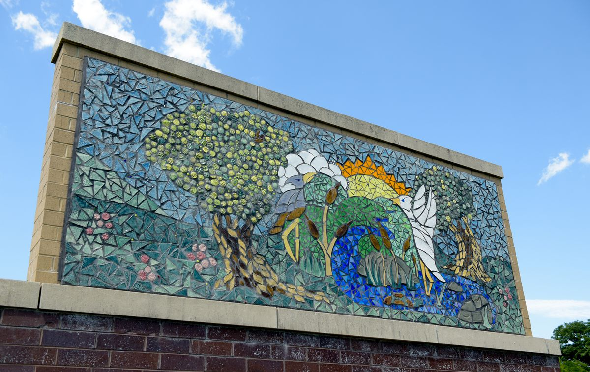 A mosaic on the campus shared by Creekside Middle School and Prairiewood Elementary School in Woodstock.