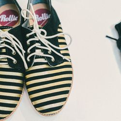 """Rollie 'Derby' gold stripe loafers, <a href=""""http://swords-smith.com/products/rollie-derby-gold-stripe"""">$120</a>"""