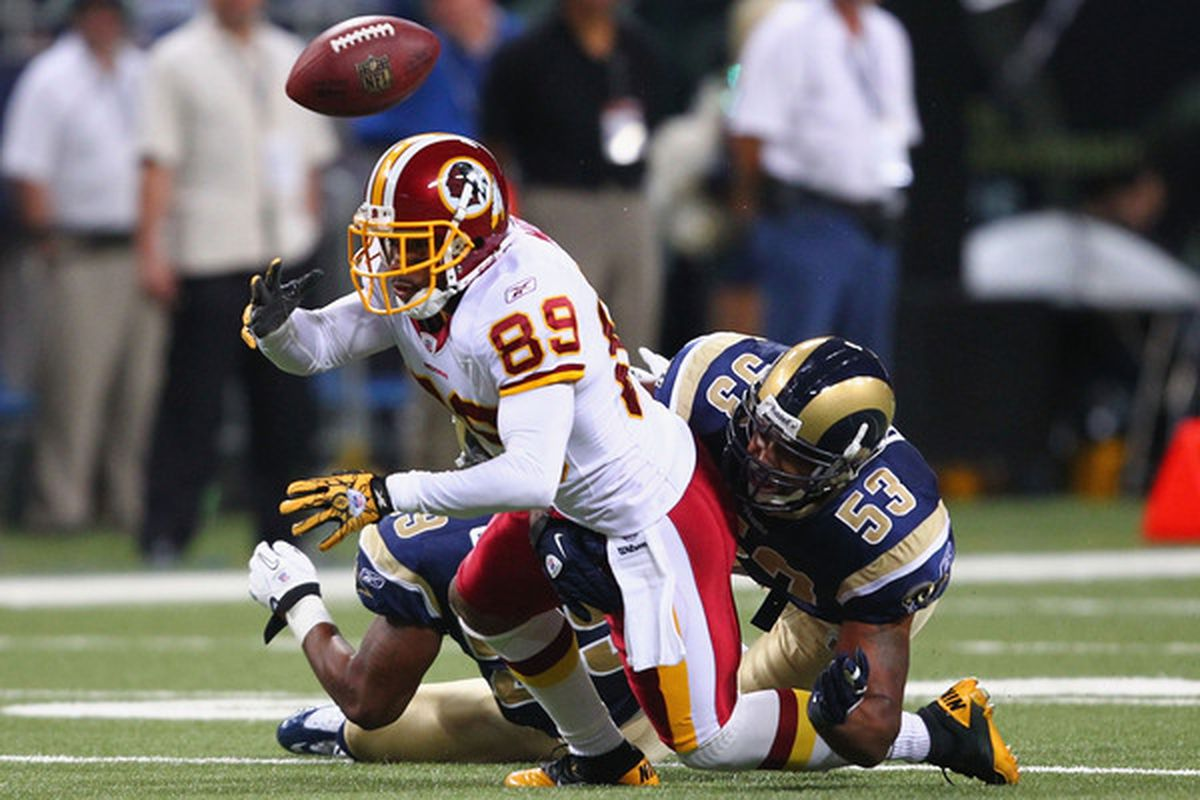 Visible signs of a better Rams team: Na'Il Diggs #53 of the St. Louis Rams forces a fumble against Santana Moss #89 of the Washington Redskins at the Edward Jones Dome on September 26 2010.