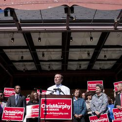 Democratic candidate for U.S. Senate Chris Murphy address an audience at a news conference in Hartford, Conn., Tuesday, Sept. 25, 2012. Murphy says he's seeking to refocus Connecticut's increasingly personal and contentious Senate race, challenging his Republican rival Linda McMahon to talk about issues that the voters care about.