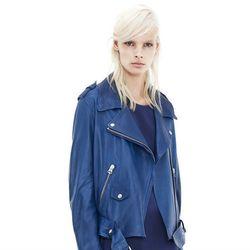 "<b>Acne Studios</b> Mape Blue Leather Moto, <a href=""http://www.acnestudios.com/shop/women/coats-jackets/mape-blue.html"">$1,600</a>"